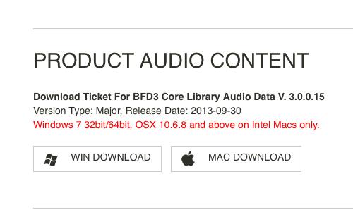 BFD3 Product audio content 欄のボタンをクリックすると、テキストが表示されダウンロードが始まらない
